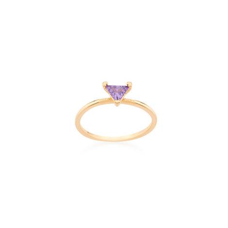 Anel zircônia lilás violeta triângulo solitário