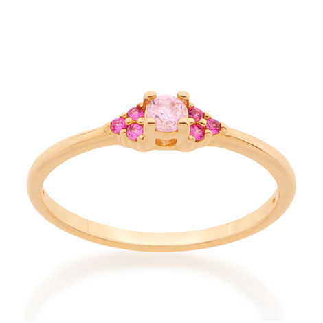 512654 anel aro fino navete solitario cravejado com zirconias rosa rommanel brilho folheados colecao miss violet