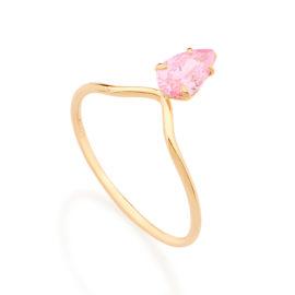 Anel detalhe triângulo gota zircônia rosa