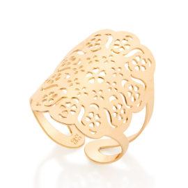 Maxi anel ajustável flores estilizadas Rommanel