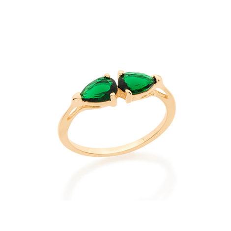 512680 anel aro fino com 2 cristais verde esmeralda em formato de gota visto da horizontal joia folheada a ouro 18k miss violet rommanel brilho folheados
