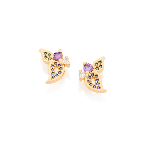 526151 brinco pequeno com design de petala de flor e folha zirconia lilas violeta e verde colecao miss violet rommanel brilho folheados