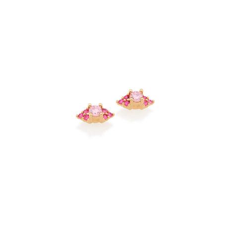 526152 brinco formato navete com zirconias rosa folheado ouro 18k miss violet rommanel brilho folheados