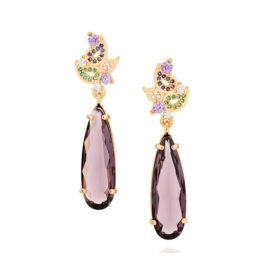 Brinco folhas estilizadas com cristal violeta
