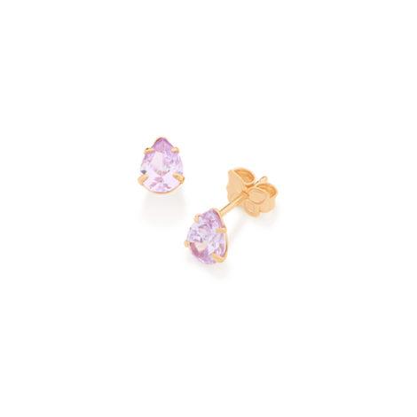 526170 gota solitario 2 zirconias par cor lilas violeta joia folheada a ouro 18k colecao miss violet rommanel brilho folheados