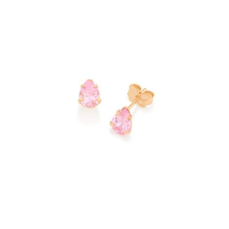 526170 gota solitario 2 zirconias par cor rosa joia folheada a ouro 18k colecao miss violet rommanel brilho folheados