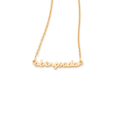531853 corrente fio cartier com pingente palavra abencoada folheado ouro dourado 18k rommanel brilho folheados
