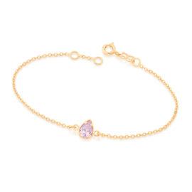 551583 pulseira de elos intercalados e delicados com pingente de zirconia no formato gota cor lilas brilho folheados rommanel miss violet