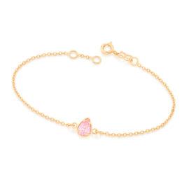 551583 pulseira de elos intercalados e delicados com pingente de zirconia no formato gota cor rosa brilho folheados rommanel miss violet