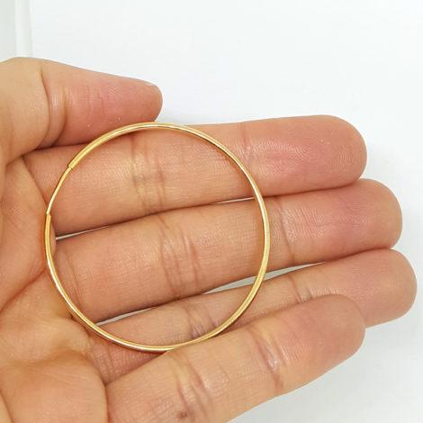 6558000 brinco argola fina media fecho invisivel folheada ouro doruado 18k brilho folheados sabrina joias 2