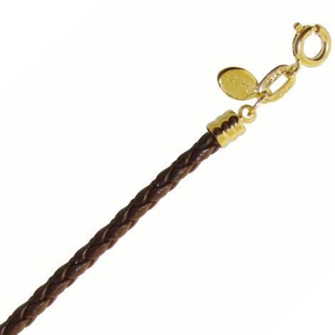 BP0461 pulseira feminina couro sintetico trancado cor marrom fecho folheado ouro 18k bruna semijoias brilho folheados