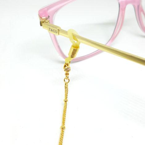 Corrente dupla para oculos com bolinhas de metal e pedra de strass em cada ponta joia folheada modelo brilho folheados 2