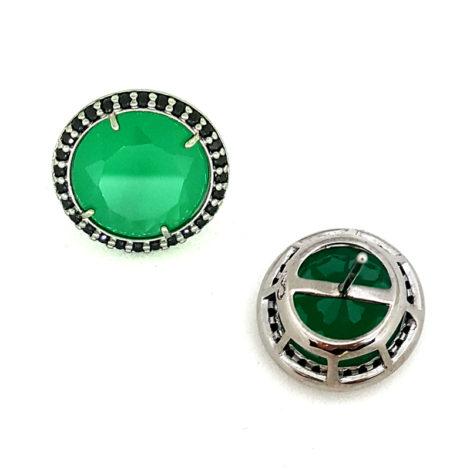RN1690150 maxi brinco solitario pedra verde escuro jade com bordas cravejadas com zirconias pretas brilho folhado a rodio negro sabrina joias brilho folheados 2
