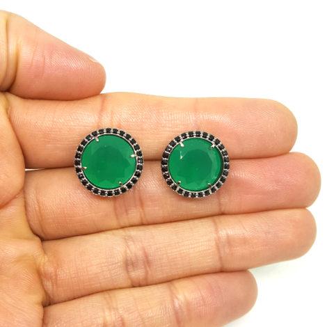 RN1690150 maxi brinco solitario pedra verde escuro jade com bordas cravejadas com zirconias pretas brilho folhado a rodio negro sabrina joias brilho folheados 3
