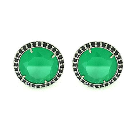 RN1690150 maxi brinco solitario pedra verde escuro jade com bordas cravejadas com zirconias pretas brilho folhado a rodio negro sabrina joias brilho folheados