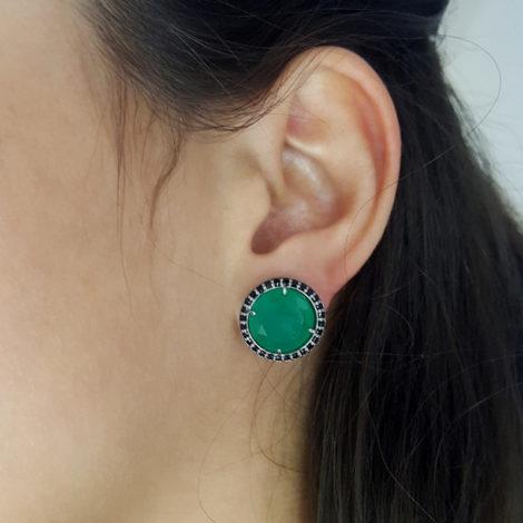 RN1690150 maxi brinco solitario pedra verde escuro jade com bordas cravejadas com zirconias pretas brilho folhado a rodio negro sabrina joias brilho folheados foto modelo 1