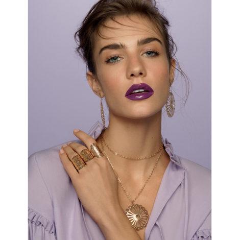 anel flores violeta e brinco colar flor girassol rommanel miss violet brilho folheados