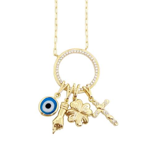 colar longo patua 75 cm comprimento pingente pretecao olho grego figa trevo cruz folheado a ouro dourado 18k brilho folheados joia antialergica