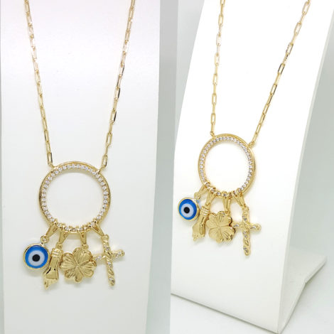colar longo patua 75 cm comprimento pingente pretecao olho grego figa trevo cruz folheado a ouro dourado 18k brilho folheados joia antialergica modelo 1