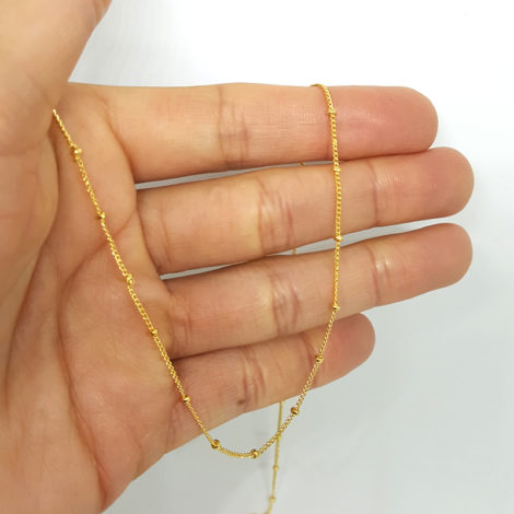 corrente oculos bolinhas metal folheado ouro 18k 70cm comprimento brilho folheados 2