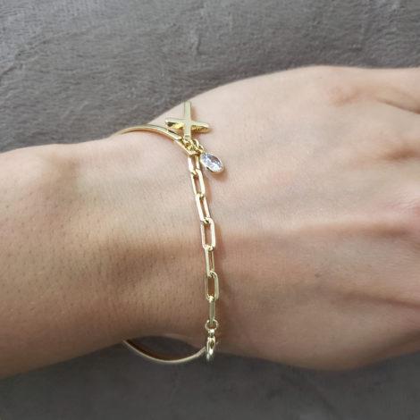 pulseira bracelete mista com cruz e strass joia folheada ouro 18k brilho folheados foto modelo 4