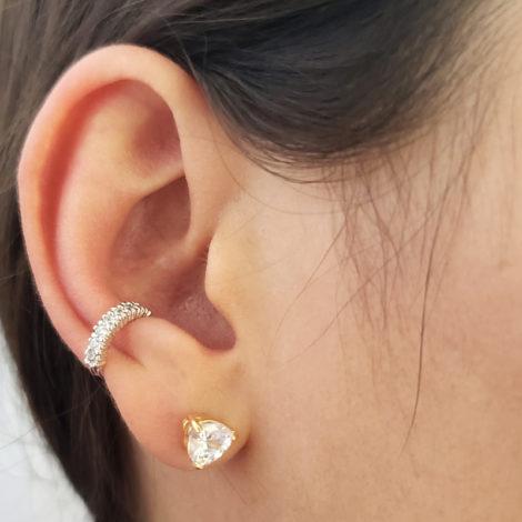 121631 brinco piercing prateado de pressao 8 zirconias branca brilhante marca rommanel loja brilho folheados piercing na orelha