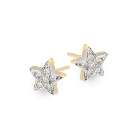 Brinco estrela pequena cravejado com zircônias brancas banhado a ouro 18k. SKU 1664400 marca Sabrina Joias.
