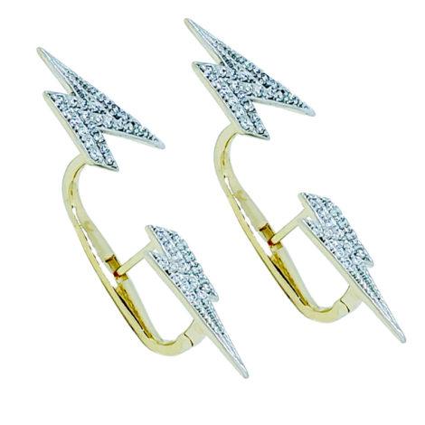 1689825 brinco raio cravejado com zirconias com efeito transpassado joia folheada ouro dourado 18k marca sabrina joias loja brilho folheados