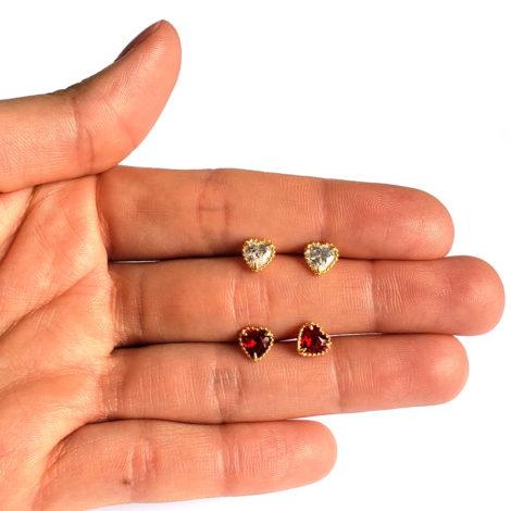 1690041 brinco infantil mini coracao de zirconia tarracha baby joia folheada ouro antialergica marca sabrina joias brilho folheados