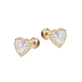 1690041 brinco para uso infantil ou segundo furo de um adulto no formato de coracao com pedra de zirconia branca joia folheada ouro 18k revendedora brilho folheados