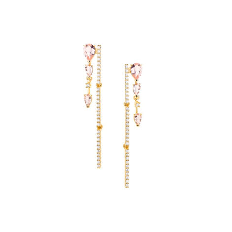 1690260 brinco fio de ziconias com cristais rosa morganita folheado ouro dourado 18k marca sabrina joias loja brilho folheados