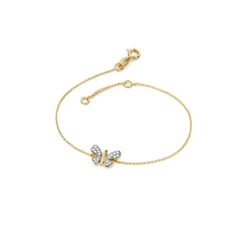 1700136 pulseira borboleta cravejada com zirconias delicada folheada ouro 18k marca sabrina joias loja brilho folheados