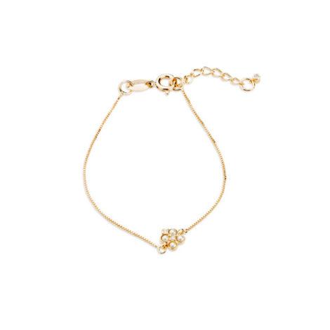 1700417 pulseira infanti com delicado pingente de perola e zirconia formando uma florzinha joia antialergica disponivel na loja oline brilho folheados