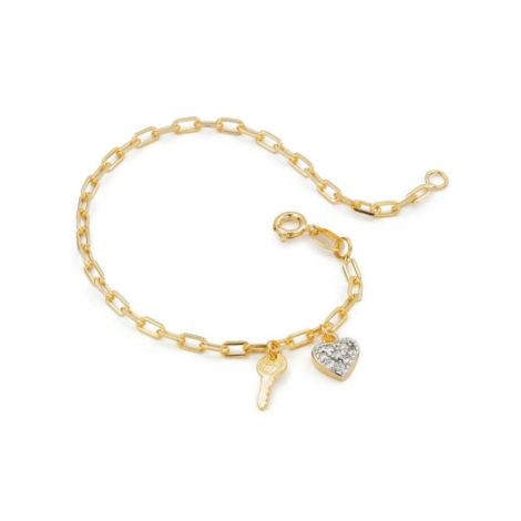 1719800 pulseira elos cartier com pingente de chave e coracao cravejado de zirconia joia antialergica sabrina vendido por brilho folheados