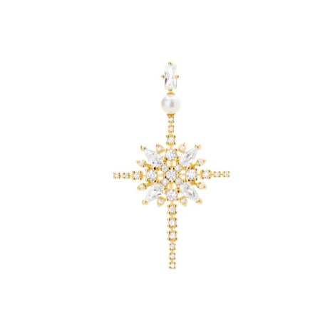 1800677 pingente cruz estilizada com zirconias cristais e perola joia folheada a ouro 18k brilho folheados sabrina joias
