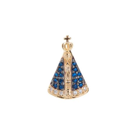 1800689 pingente pequeno no formato de nossa senhora aparecida zirconia azul e branca folheado ouro 18k sabrina joias brilho folheados