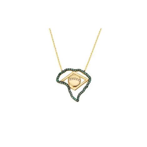 1900199 colar pingente do brasil corrente elos folheado a ouro 18k marca sabrina joias loja brilho folheados