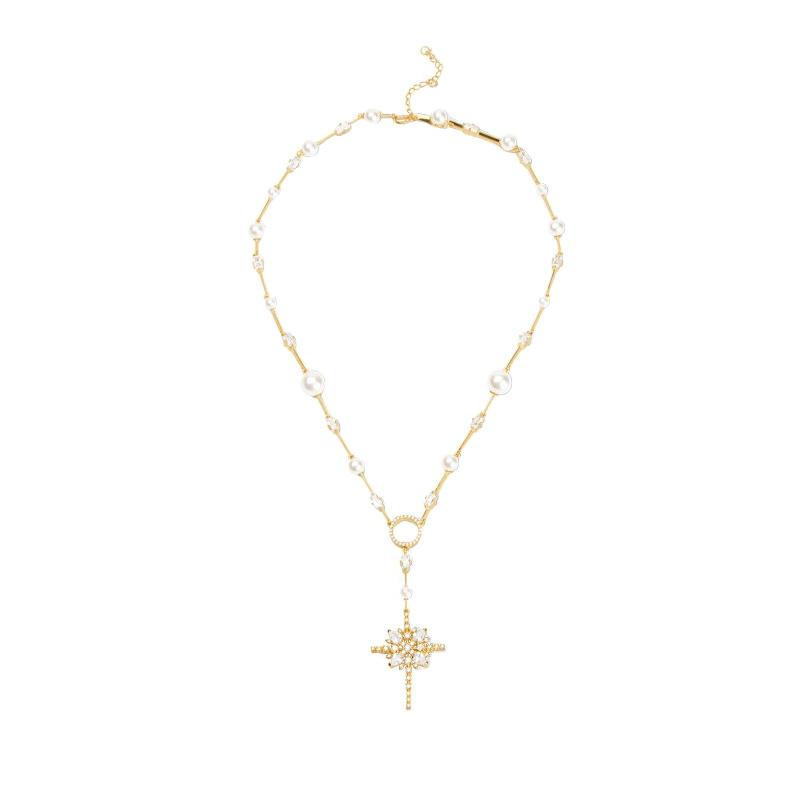 Gargantilha santo rosário pérola e zircônia estilizada joia folheada . cc5326643d