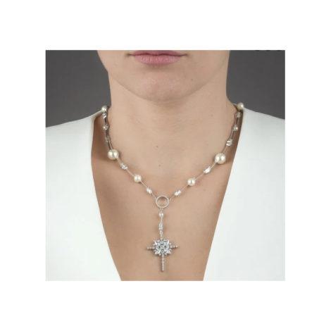 1900405 colar terco estiloso com perola e cristais de zirconias joia folheada rodio prateada marca sabrina joias loja brilho folheados foto modelo