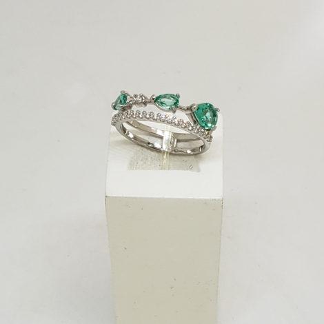 1910949 anel aro duplo com zirconia branco brilhante com gota de cristal verde turmalina paraiba joia folheada rodio cor prata foto exposta loja brilho folheados