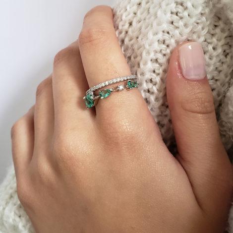 1910949 anel aro duplo com zirconia branco brilhante com gota de cristal verde turmalina paraiba joia folheada rodio cor prata loja brilho folheados modelo