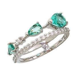 Anel prateado cristais gotas verde paraíba