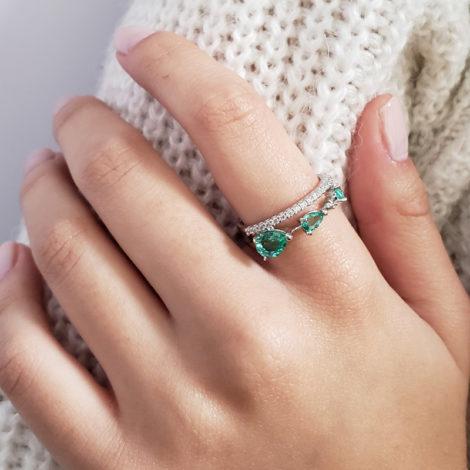 1910949 anel aro duplo com zirconia branco brilhante com gota de cristal verde turmalina paraiba joia folheada rodio cor prata marca sabrina joias loja brilho folheados modelo