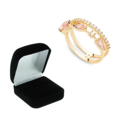1910949 anel aro duplo stilleto aro cravejao micro zirconia brilhante aro cristal rosa morganita joia antialergica com caixa veludo marca sabrina loja brilho folheados