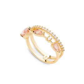 Anel delicado cristais gotas rosa morganita
