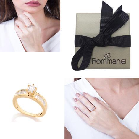 511690 anel solitario com 6 zirconias quadradas na lateral do aro joia folheada antialergica rommanel brilho folheados anel acompanha caixinha presente porta anel