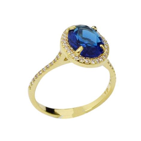 AB1779 anel formatura cristal azul com detalhes em zirconia branca joia folheada antialergica bruna semijoias