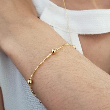 BP0174 pulseira infantil bolinhas com corrente de elos joia folheada a ouro brilho folheados bruna semijoias foto modelo 1