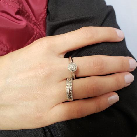 anel solitario chuveirinho prateado anel bolinhas zirconias brilhantes marca sabrina joias loja brilho folheados
