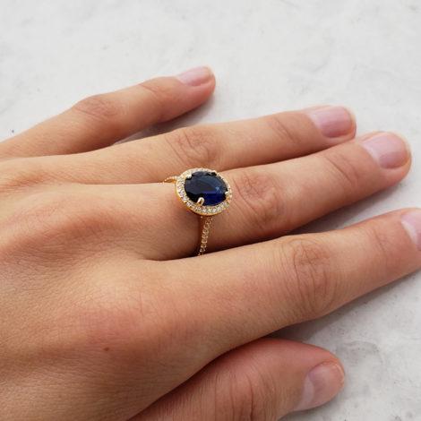 anel solitario cristal azul escuro com zirconias brancas bruna semijoias brilho folheados 1